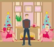 Dos Pin Up Santa Girls y trozo Foto de archivo libre de regalías