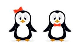 Dos pingüinos lindos en el fondo blanco stock de ilustración