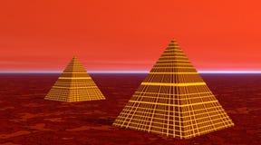 Dos pirámides en desierto rojo ilustración del vector