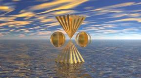 Dos pirámides y dos bolas ilustración del vector