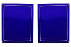Dos placas de metal esmaltadas azul viejo Fotografía de archivo