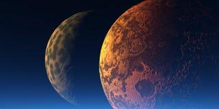Dos planetas ilustración del vector