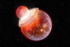 Dos planetas chocan en espacio profundo ilustración del vector
