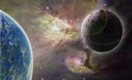 Dos planetas en espacio ilustración del vector