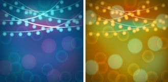 Dos plantillas del backgroud con las luces azules y anaranjadas Imagen de archivo libre de regalías