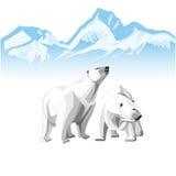 Dos polares blancos refieren un fondo de icebergs libre illustration