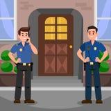 Dos policías en el ejemplo plano del vector de la puerta libre illustration