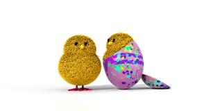 Dos polluelos de Pascua y un huevo multicolor libre illustration