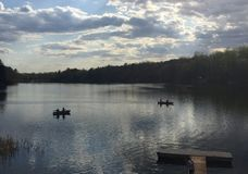 Dos por dos con las canoas Imagen de archivo libre de regalías