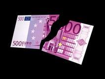 Dos porciones de un euro del billete de banco 500 Imagenes de archivo