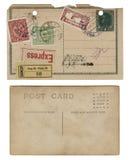 Dos postales antiguas de la vendimia Imágenes de archivo libres de regalías