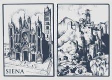 Dos postales del vintage con paisajes de Tuskany, Italia Siena Cathedral y castillo en el vintage de la colina lookiing ilustración del vector