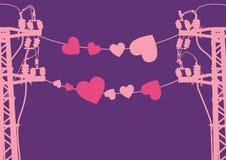 Dos postes utilitarios del amante. stock de ilustración