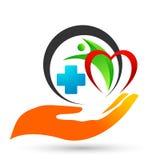 Dos povos médicos da cruz do cuidado da mão do coração da saúde do globo ícone saudável do projeto do logotipo dos cuidados palia ilustração do vetor