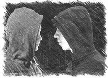 Dos preocuparon a los adolescentes con la sudadera con capucha negra que se colocaba delante de uno a en perfil aislados en fondo libre illustration