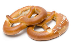 Dos pretzeles Fotografía de archivo libre de regalías