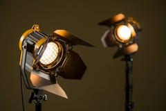 Dos proyectores del halógeno con las lentes de Fresnel Fotos de archivo libres de regalías