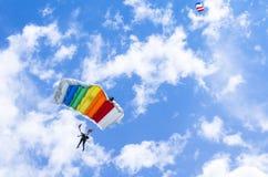 Dos puentes de paracaídas Imágenes de archivo libres de regalías