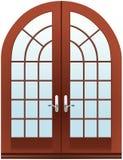 Dos puertas de madera cerradas de la media luna de las piezas Imagenes de archivo
