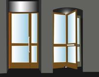 Dos puertas en la casa, la entrada y la salida stock de ilustración
