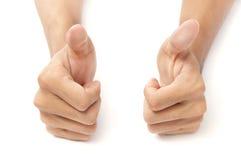 Dos pulgares de las manos w para arriba Foto de archivo libre de regalías