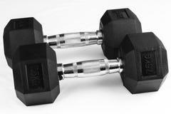 Dos puntos negros de 7 pesas de gimnasia 5kg Fotos de archivo libres de regalías