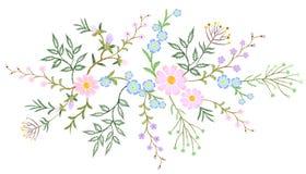 Dos ramos pequenos florais brancos do teste padrão do laço do bordado erva selvagem com pouca flor violeta azul do campo Tradicio Imagens de Stock