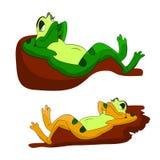 Dos ranas perezosas que duermen en los guijarros, una historieta en un fondo blanco ilustración del vector
