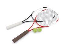Dos raquetas de tenis 3d Foto de archivo libre de regalías
