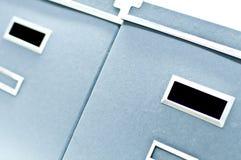Dos rectángulos de almacenaje azules Imagen de archivo libre de regalías