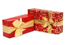 Dos rectángulos de regalo aislados en el blanco Imagen de archivo