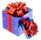 Dos regalos azules con los arqueamientos rojos Imagen de archivo libre de regalías