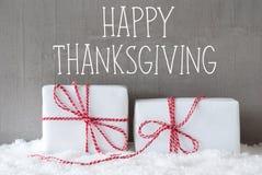 Dos regalos con nieve, mandan un SMS a acción de gracias feliz Fotografía de archivo