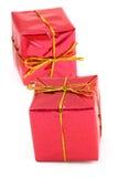 Dos regalos rojos Foto de archivo