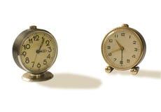 Dos relojes de alarma viejos Fotografía de archivo