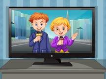Dos reporteros de las noticias en la televisión Foto de archivo libre de regalías
