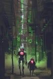 Dos robots que caminan en callejón estrecho ilustración del vector