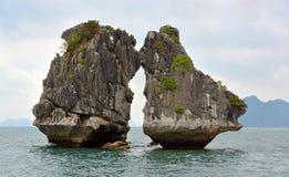 Dos rocas de los gallos de lucha en la bahía de Halong Fotos de archivo libres de regalías