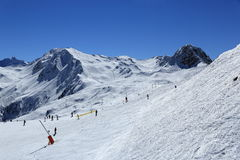Dos Rond, Winter landscape in the ski resort of La Plagne, France Stock Photos