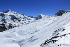 Dos Rond, Winter landscape in the ski resort of La Plagne, France Stock Photography