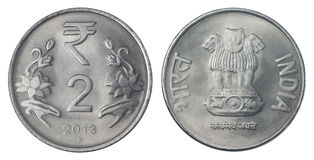 Dos rupias indias imagen de archivo