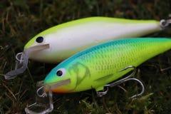 Dos sábalos pesqueros hechos en casa de los enchufes de los señuelos imagen de archivo libre de regalías
