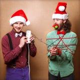 Dos Santa Claus emocional Imagen de archivo libre de regalías