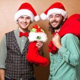 Dos Santa Claus emocional Fotografía de archivo libre de regalías