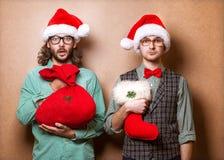 Dos Santa Claus emocional Fotografía de archivo
