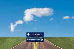 Dos señales de tráfico que señalan a una juntura entre el trabajo y el conservador en las elecciones BRITÁNICAS próximas imagen de archivo