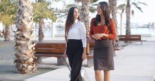 Dos señoras elegantes que caminan y que charlan Fotos de archivo libres de regalías