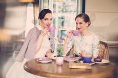 Dos señoras jovenes elegantes en un café Foto de archivo libre de regalías