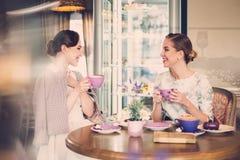 Dos señoras jovenes elegantes en un café Fotografía de archivo