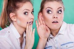 Dos secretos de las partes de los adolescentes, chisme Imagenes de archivo